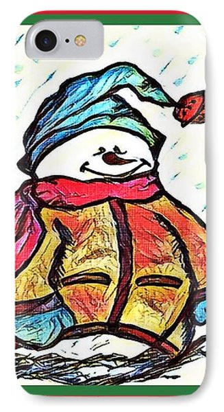 Happy Holidays Snowman IPhone Case by MaryLee Parker