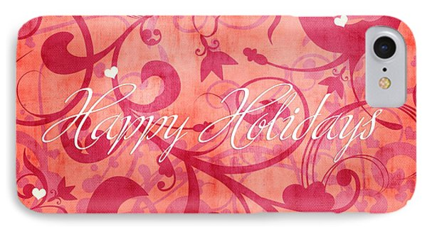 Happy Holidays Swirly Background IPhone Case by Maggie Terlecki