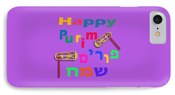 Happy Joyous Purim In Hebrew And English IPhone Case by Humorous Quotes