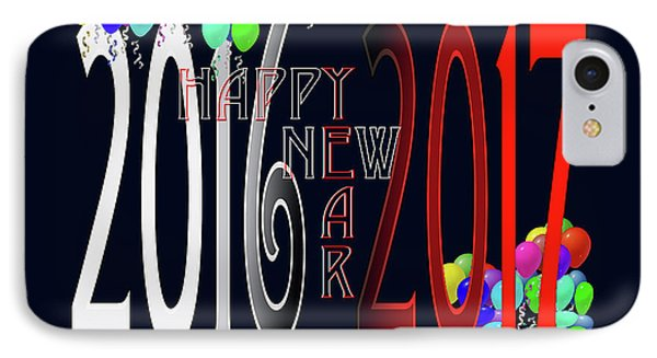 Happy New Year Card With Ballons IPhone Case by Robert J Sadler