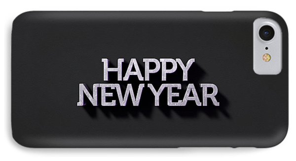 Happy New Years Text On Black IPhone Case