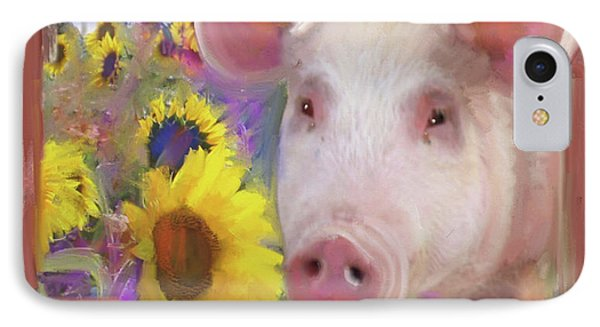 Happy Pig  IPhone Case by Julianne Ososke