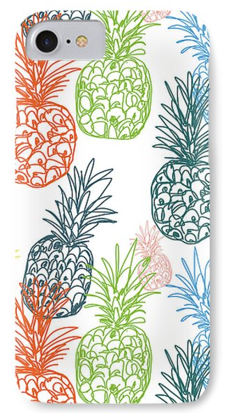 Happy Pineapple- Art By Linda Woods IPhone Case by Linda Woods