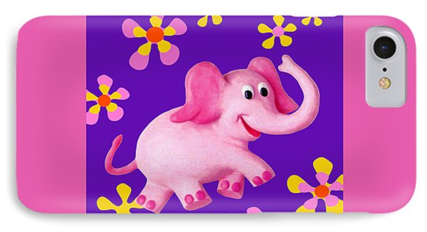 Happy Pink Elephant IPhone Case by Amy Vangsgard