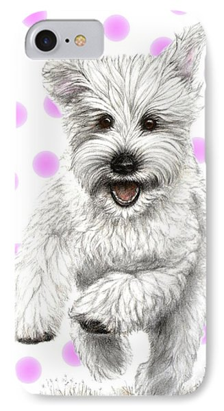 IPhone Case featuring the drawing Happy Pink Polka Dots Doggy  by Heidi Kriel