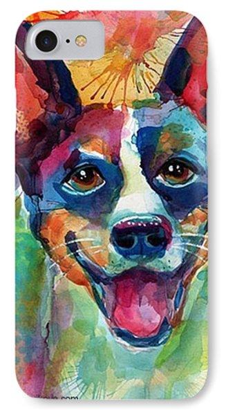 Happy Rat Terrier Watercolor Portrait IPhone Case