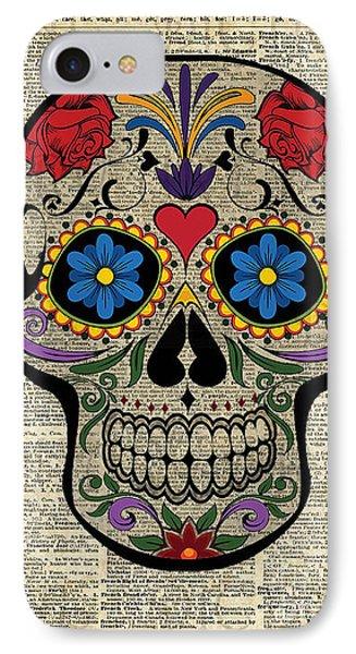 Happy Skull,sugar Skull,dia De Los Muertos,halloween Artwork IPhone 7 Case