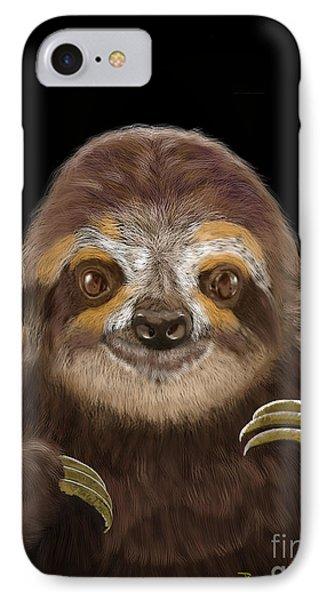 IPhone Case featuring the mixed media Happy Three Toe Sloth by Thomas J Herring