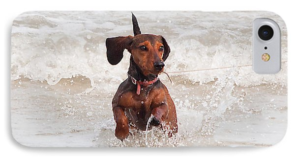 Happy Surf Dog IPhone Case by Kenneth Albin