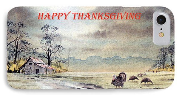 IPhone Case featuring the painting Happy Thanksgiving  by Bill Holkham