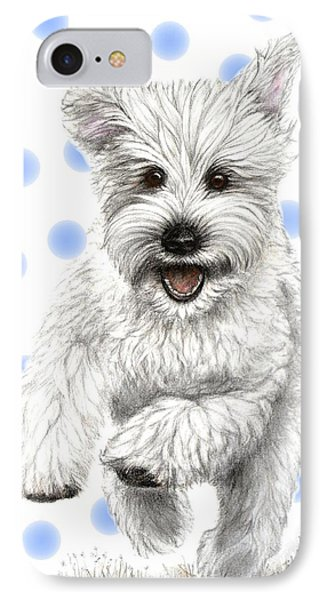 IPhone Case featuring the drawing Happy Blue Polka Dots Doggy by Heidi Kriel