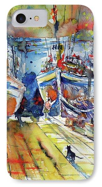 Harbor With Cats IPhone Case by Kovacs Anna Brigitta