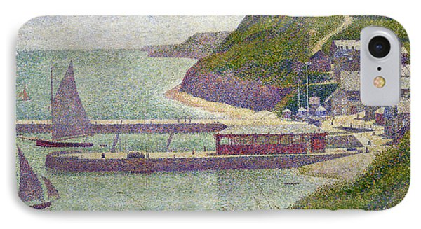 Harbour At Port En Bessin At High Tide IPhone Case by Georges Pierre Seurat