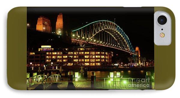 Harbour Bridge Aqua Gold Vivid Sydney 2016 By Kaye Menner IPhone Case by Kaye Menner
