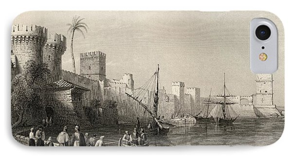 Harbour Of Rhodes, Greece. Engraved By IPhone Case by Vintage Design Pics