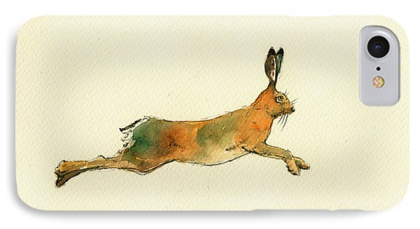 Hare Running Watercolor Painting IPhone Case
