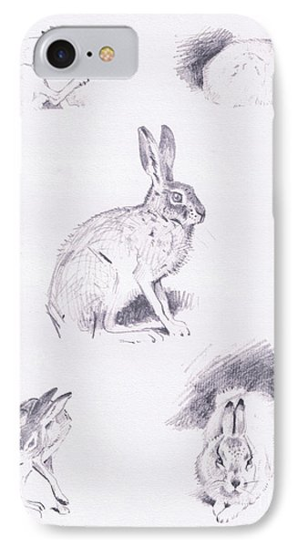 Hare Studies IPhone Case by Archibald Thorburn
