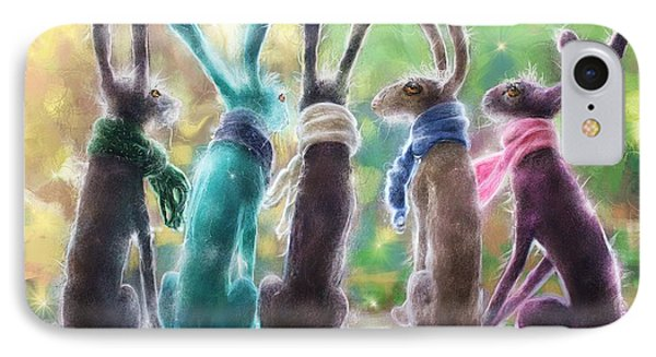 Hares With Scarves IPhone Case by Debra Baldwin