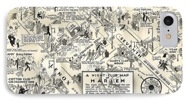 Harlem iPhone 7 Case - Harlem Prohibition Nightclub Map 1926 by Daniel Hagerman