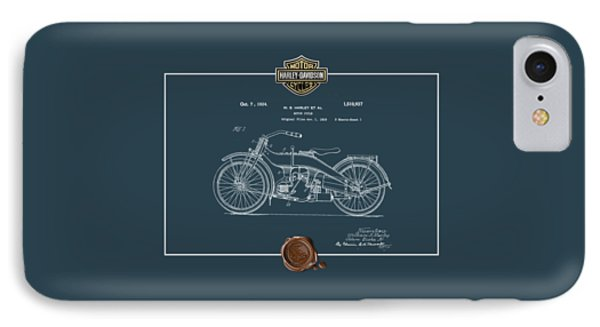 IPhone Case featuring the digital art Harley-davidson 1924 Vintage Patent Blueprint  by Serge Averbukh