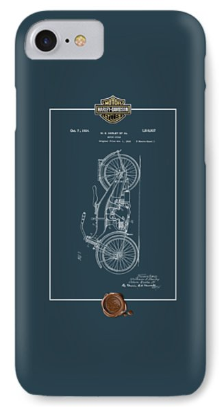 IPhone Case featuring the digital art Harley-davidson 1924 Vintage Patent Blueprint With 3d Badge by Serge Averbukh