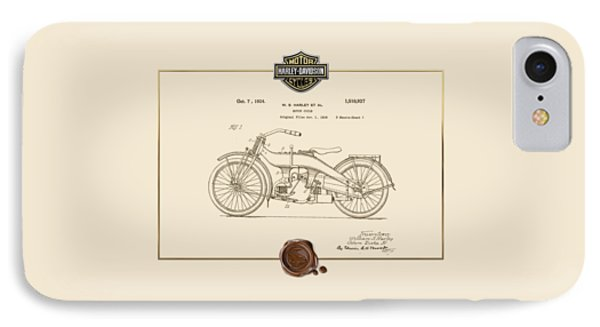 IPhone Case featuring the digital art Harley-davidson 1924 Vintage Patent Document  by Serge Averbukh