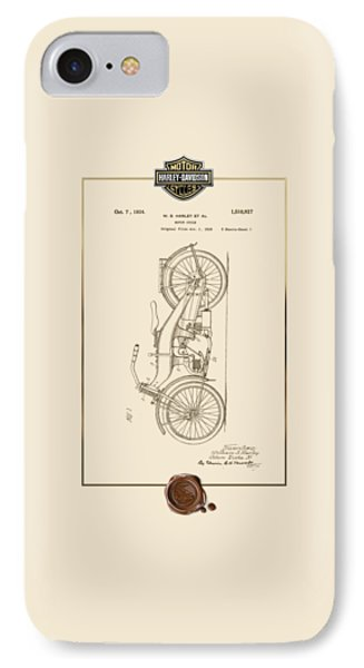 IPhone Case featuring the digital art Harley-davidson 1924 Vintage Patent Document With 3d Badge by Serge Averbukh