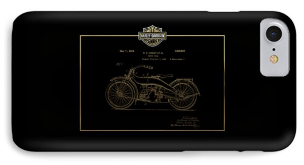 IPhone Case featuring the digital art Harley-davidson 1924 Vintage Patent In Gold On Black by Serge Averbukh