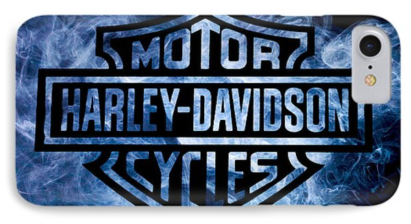 Harley Davidson Logo Blue IPhone Case by Randy Steele