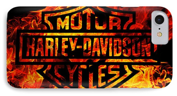 Motorcycle iPhone 7 Case - Harley Davidson Logo Flames by Randy Steele