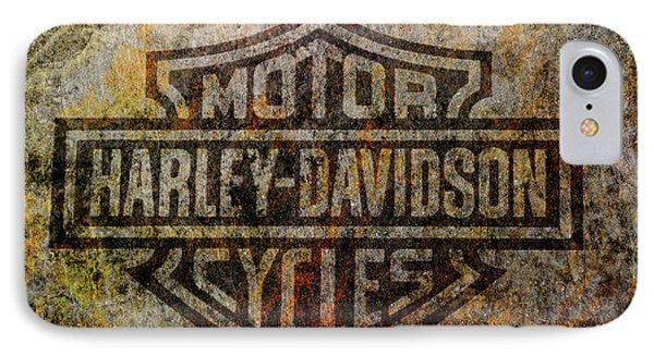 Harley Davidson Logo Grunge Metal IPhone Case by Randy Steele