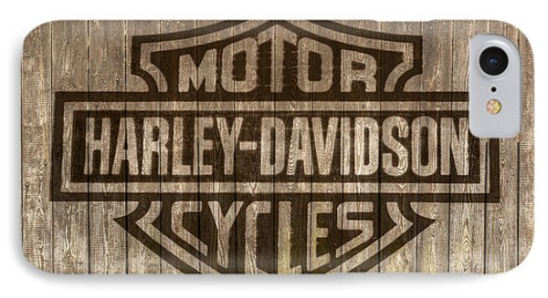 Harley Davidson Logo On Wood IPhone Case by Randy Steele