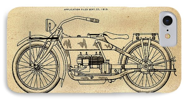 Harley Davidson Motorcycle Patent 1919 In Sepia IPhone Case