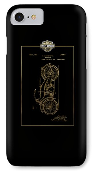 IPhone Case featuring the digital art Harley-davidson Vintage 1924 Patent In Gold With 3d Badge On Black by Serge Averbukh