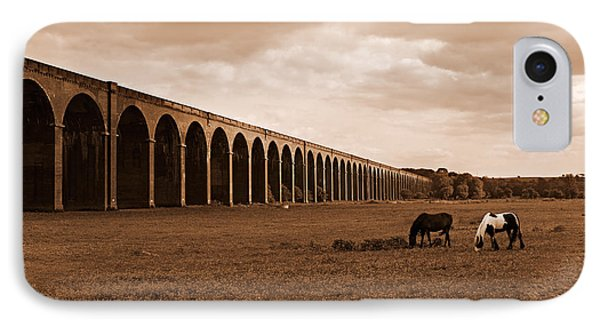 Harringworth Viaduct And Horses Grazing Phone Case by Louise Heusinkveld