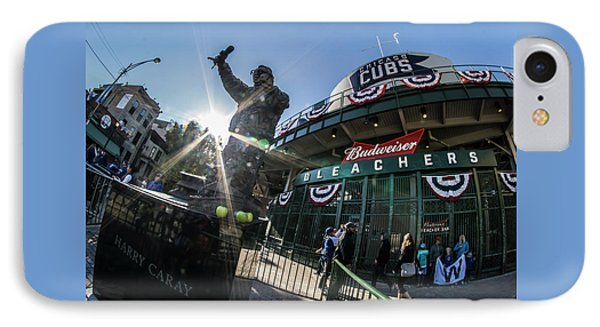 Harry Caray Statue After World Series Win IPhone Case by Sven Brogren