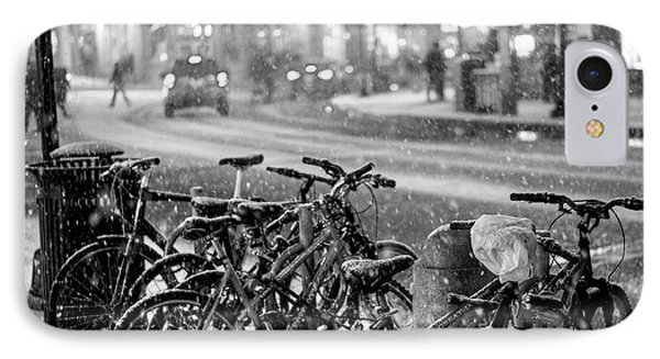 Harvard Square Cambridge Ma Snowy Bicycles Black And White IPhone Case by Toby McGuire