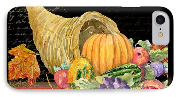 Harvest Cornucopia Of Blessings - Pumpkin Pomegranate Grapes Apples IPhone Case by Audrey Jeanne Roberts