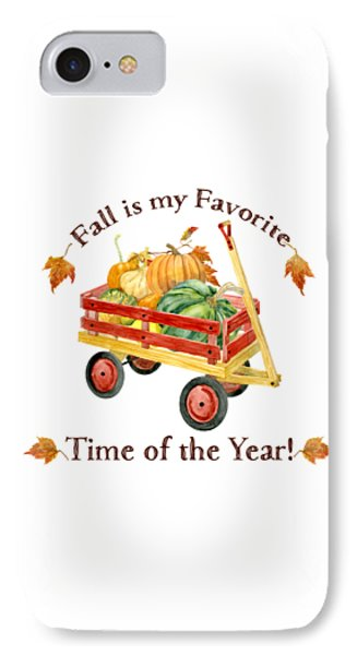 Harvest Red Wagon Pumpkins N Leaves IPhone Case by Audrey Jeanne Roberts