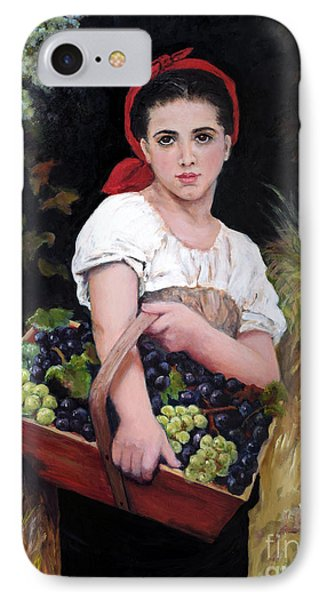 IPhone Case featuring the painting Harvesting The Grapes by Sandra Nardone