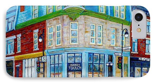 Harry Toulch Optometrist Heritage Montreal Landmark Rue St Laurent Street Scene Canadian Art        IPhone Case by Carole Spandau