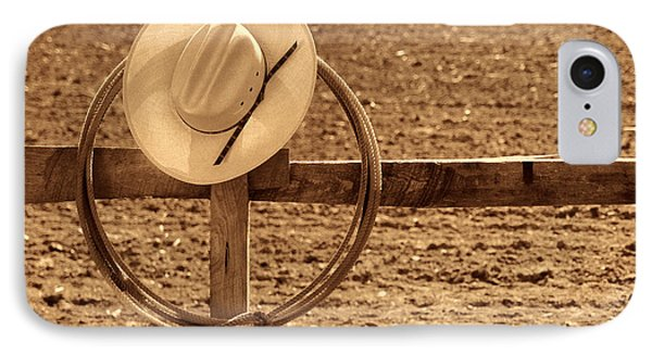 Hat And Lasso On A Fence IPhone Case by American West Legend By Olivier Le Queinec