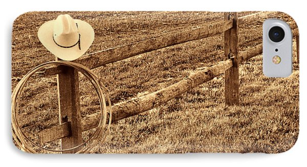 Hat And Lasso On Fence IPhone Case by American West Legend By Olivier Le Queinec