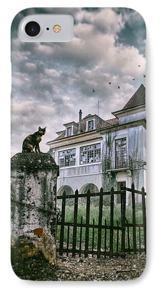 Haunted House And A Cat IPhone Case by Carlos Caetano