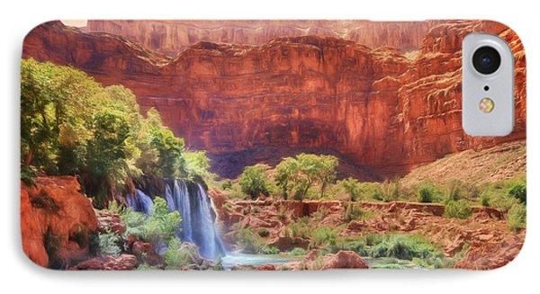 Havasu Canyon - Upper Navajo Falls IPhone Case by Lori Deiter