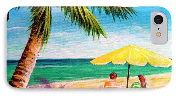 Hawaii Beach Yellow Umbrella #470 Phone Case by Donald k Hall