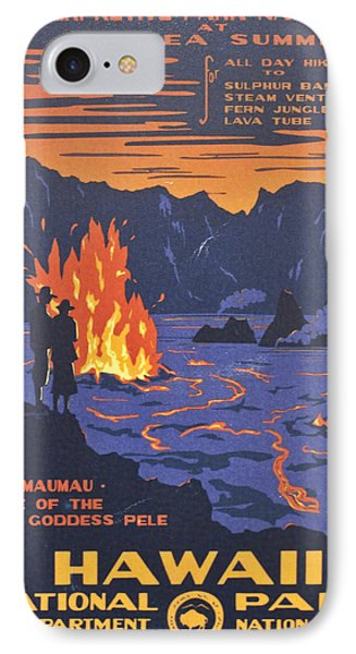 Pele iPhone 7 Case - Hawaii Vintage Travel Poster by Georgia Fowler