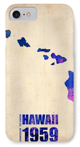 Hawaii Watercolor Map Phone Case by Naxart Studio