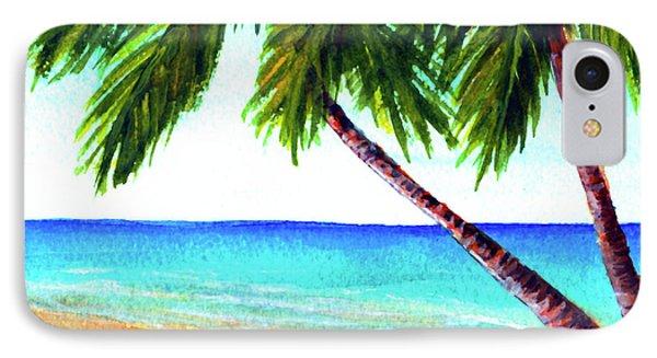 Hawaiian Beach Palm Trees  #425 Phone Case by Donald k Hall