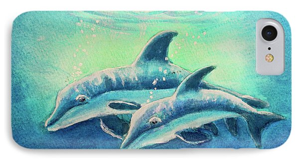 Hawaiian Dolphins  #389 Phone Case by Donald k Hall
